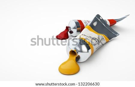 3D color tubes - stock photo