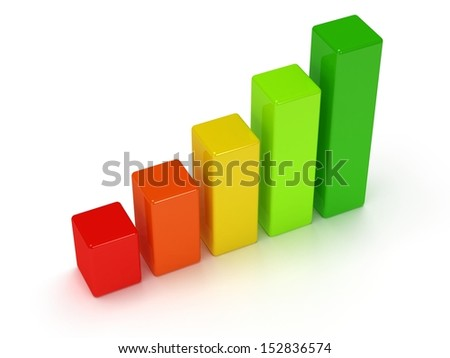 3d colored bar graph on white