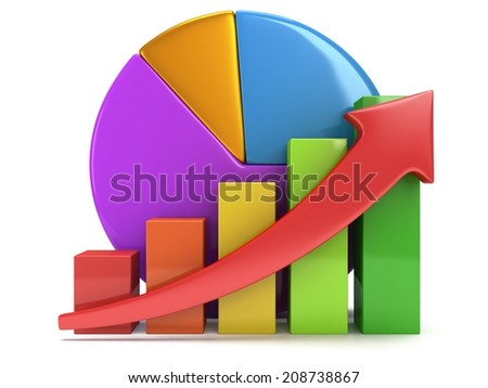 3d colored bar graph with red arrow growing up and pie chart on white. Grow, chart, business statistic concept