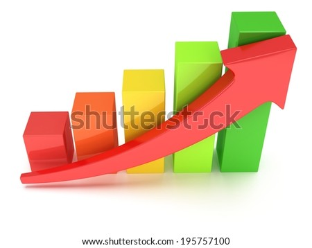 3d colored bar graph with red arrow on white. Grow, chart, business concept - stock photo