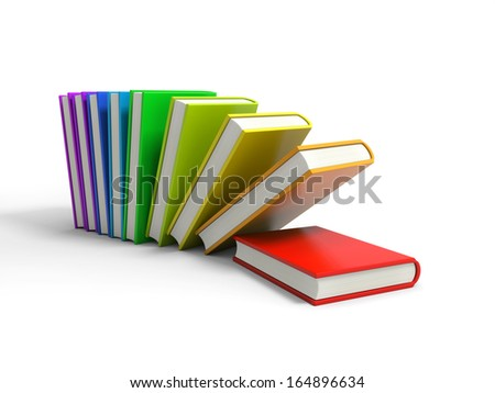 3d colored books isolated on white background - stock photo