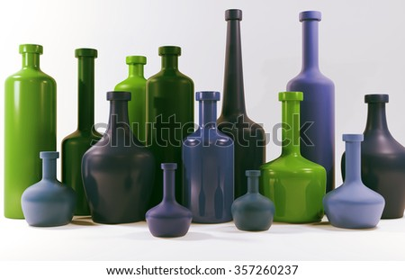 3d colored bottles isolated on white.