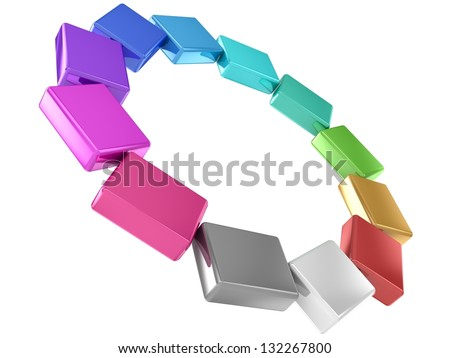 3D Colored cubes.