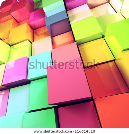 3d colored cubes background - stock photo