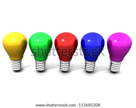 3d colored lamps,Colorful Light Bulbs, isolated on white background