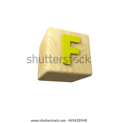 3d colored letter F on a wooden toy cube on white background