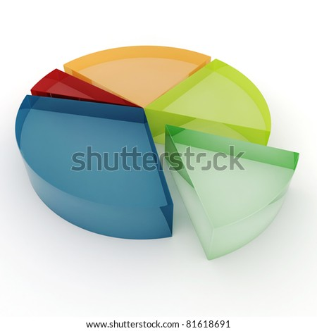 3d colorful business graph, on white background - stock photo