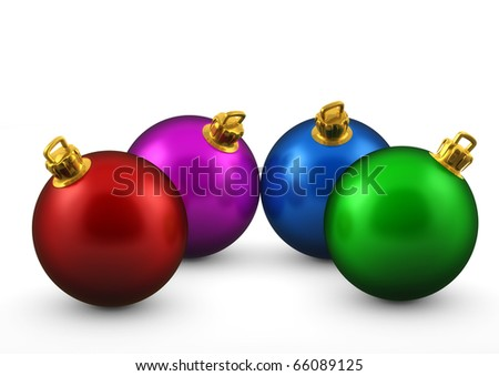 3d colorful Christmas balls isolated on white background