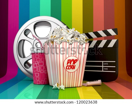 3D Colorful Cinema concept-pop corn,film reel,clapper board,drink and ticket object - stock photo