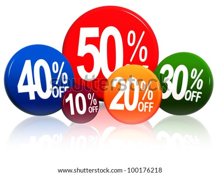 3d colorful circles with different percentages in white - stock photo