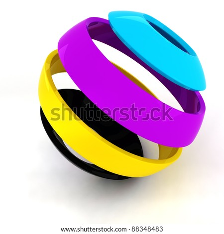 3d colorful CMYK sphere on white background - stock photo