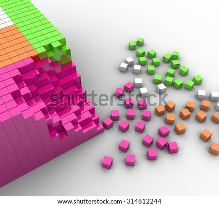 3d colorful cubes on a white background - stock photo