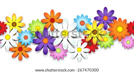 3D colorful daisy seamless border over white - stock photo