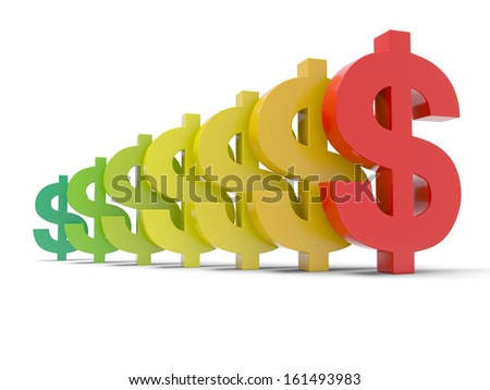3d colorful dollar symbol isolated on white background