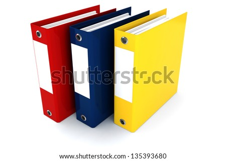 3d colorful dossiers folders on white background - stock photo