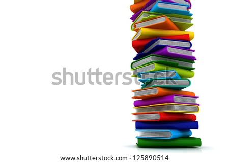 3D Colorful Folders Shelf Tower - stock photo