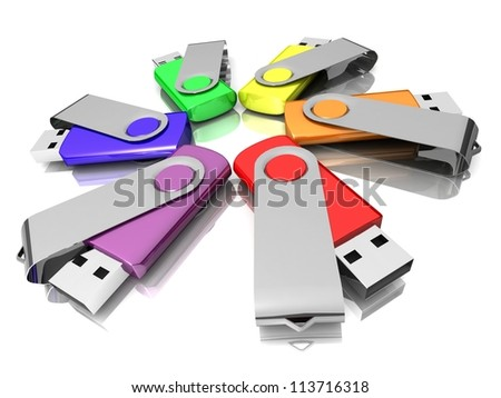 3D colorful models USB Flash Drive isolated on white background