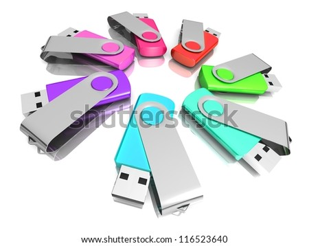 3D colorful models USB Flash Drive isolated on white background. 3d illustration - business concept (choose the best)