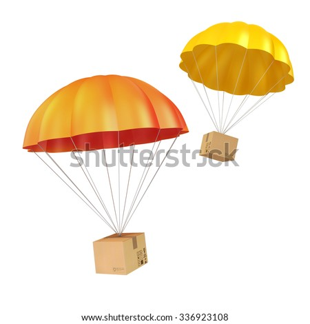 3d colorful parachute and present box - stock photo
