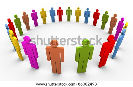3d colorful people forming circle. Concept of social networking.