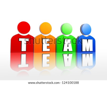 3d colorful person signs rainbow arranged with letters makes word team - stock photo