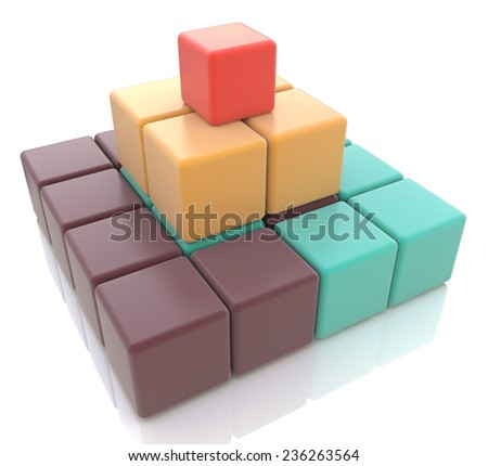 3d colorful pyramid of cubes  - stock photo