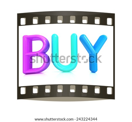 """3d colorful text """"BUY"""" on a white background. The film strip - stock photo"""