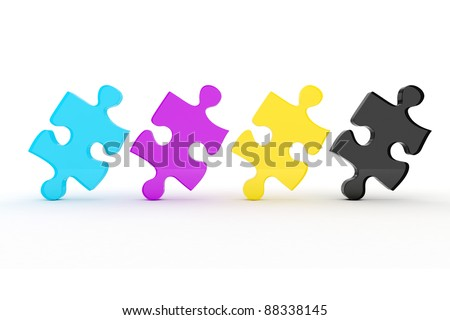 3d colorul CMYK puzzle pieces on white background - stock photo
