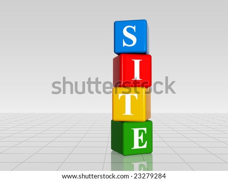3d colour boxes with white letters with text site with reflection