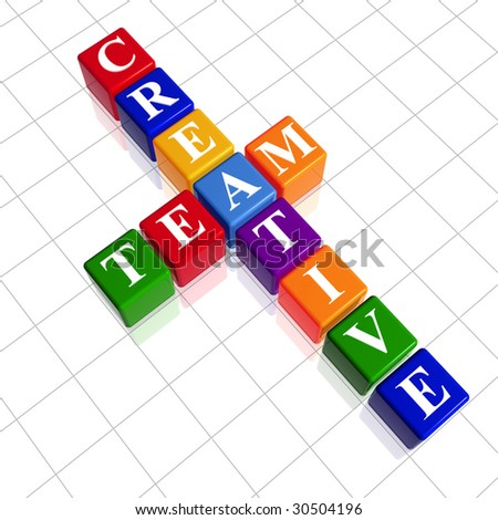 3d colour cubes with white letters like crossword with text - creative team - stock photo