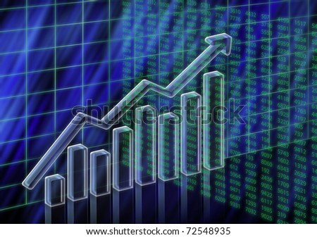 3D columns and numeric illustration of stock value increasing