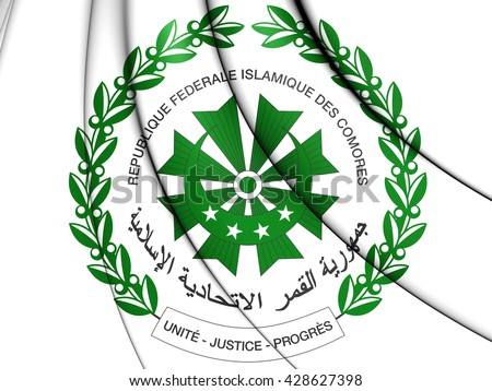 3D Comoros Coat of Arms. Close Up. - stock photo