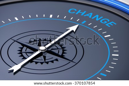 3D Compass. Change Word. Orientation, Aim or Target Concept. - stock photo