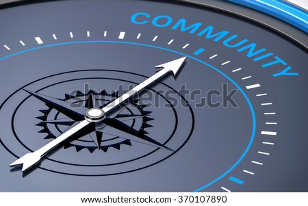 3D Compass. Community Word. Orientation, Aim or Target Concept. - stock photo