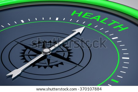3D Compass. Health Word. Orientation, Aim or Target Concept. - stock photo