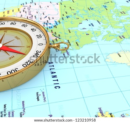 3d Compass on the map - stock photo