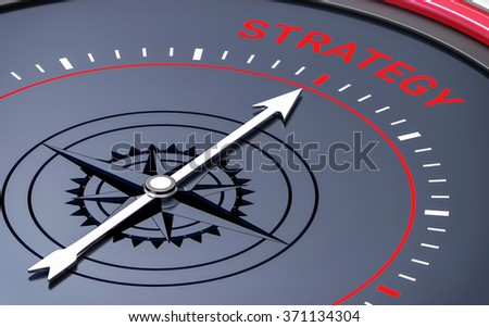 3D Compass. Strategy Word. Orientation, Aim or Target Concept. - stock photo