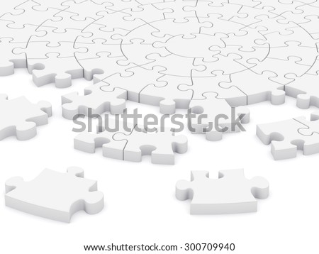 3D composition of a circular puzzle  - stock photo