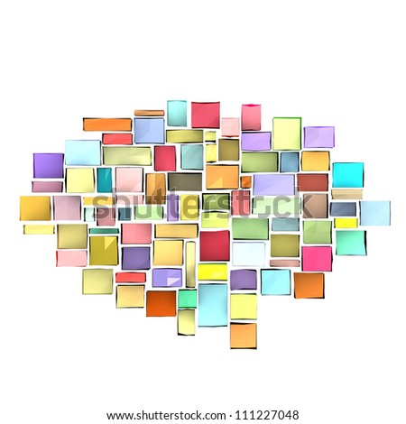 3d composition with rectangular shapes in multiple color on white - stock photo