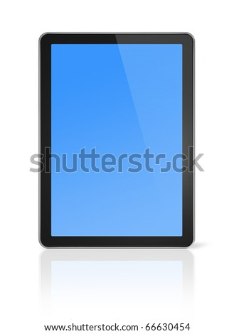 3D computer, digital Tablet pc, isolated on white with clipping path - stock photo
