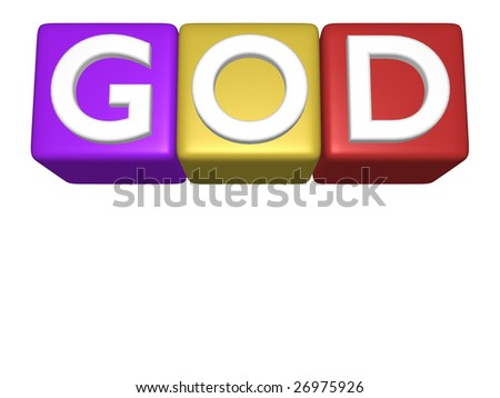 3D computer generated image of toy blocks arranged to spell God isolated on a white background with copyspace