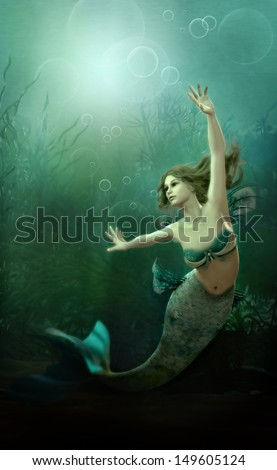 3D computer graphics of a mermaid - stock photo