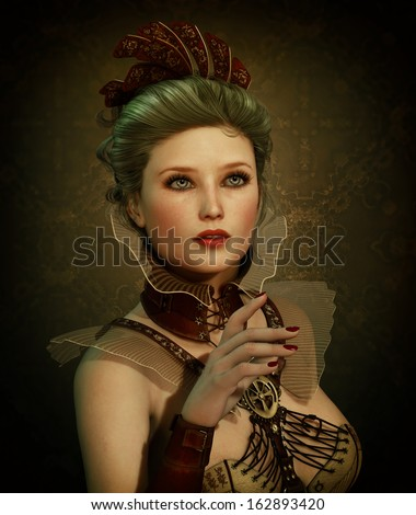 3D computer graphics of a young woman in Steampunk fashion style