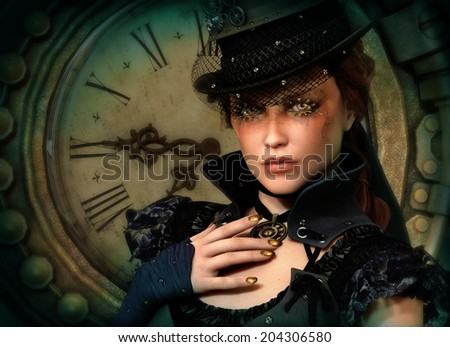3d computer graphics of a young woman with clothing in Steampunk style - stock photo