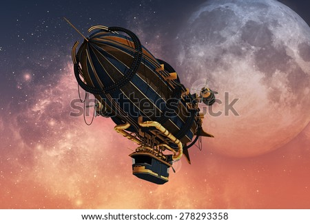 3d computer graphics of a Zeppelin in Steampunk style - stock photo