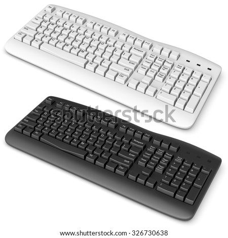 3d computer keyboard black and white