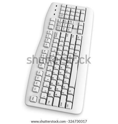 3d computer keyboard white