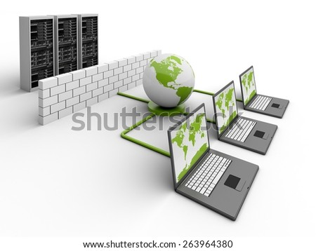 3D. Computer Network, Communication, Network Server. - stock photo