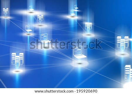 3d computer network with servers and notebooks - stock photo