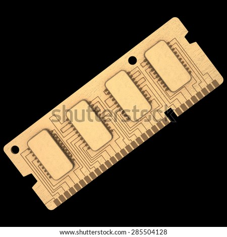 3d Computer RAM Memory Card 64gb isolated on black background High resolution - stock photo
